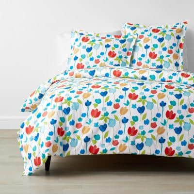 Company Cotton Tulips Multicolored Floral King Percale Duvet Cover