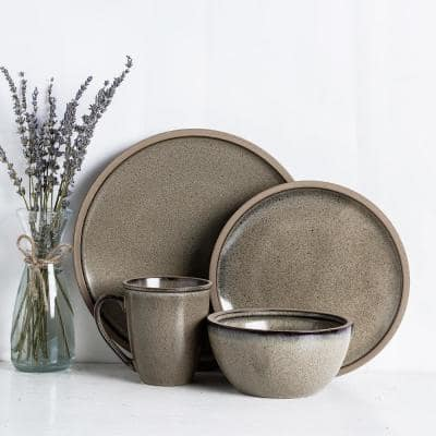 Green and Beige Tina Rustic Stoneware Dinnerware Set (Service for 4)