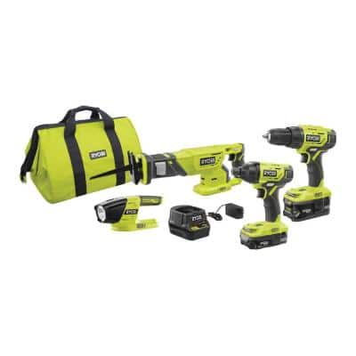 ONE+ 18V Lithium-Ion Cordless 4-Tool Combo Kit with (2) Batteries, 18V Charger, and Bag
