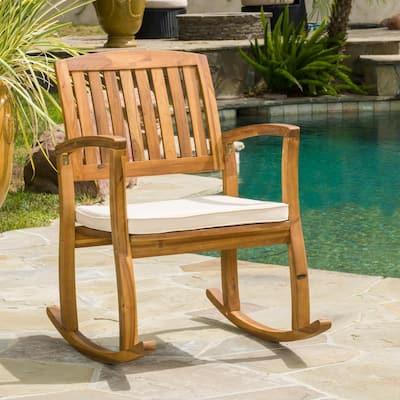 Selma Teak Finish Wood Outdoor Rocking Chair with Cream Cushion