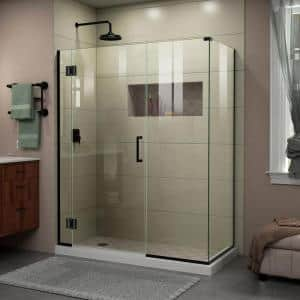 Unidoor-X 57 in. W x 34-3/8 in. D x 72 in. H Frameless Hinged Shower Enclosure in Satin Black
