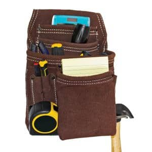 10 Pocket Suede Leather Tool Storage Pouch with Steel Hammer Loop and Tape Measure Clip