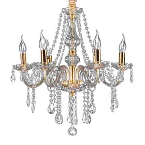 6-Light Golden Crystal Candle Shape Trimmed Chandelier with Crystal Balls