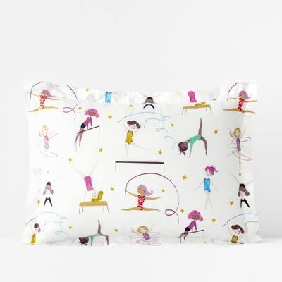 Company Kids Little Gymnasts Organic Multicolored Cotton Percale Standard Sham