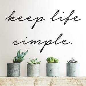Black Keep Life Simple Wall Quote Decal