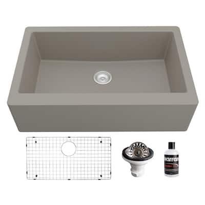 QA-740 Quartz/Granite 34 in. Single Bowl Farmhouse/Apron Front Kitchen Sink in Concrete with Bottom Grid and Strainer