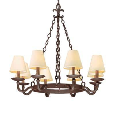 Lyon 8-Light Chandelier Burnt Sienna with Hardback Linen Shades