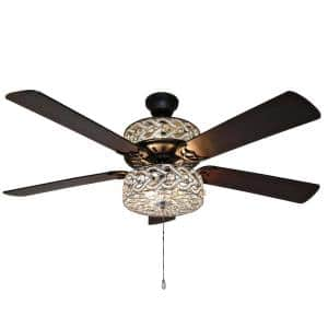 Gracie Grand 52 in. Silver with Clear Crystal LED Ceiling Fan With Light
