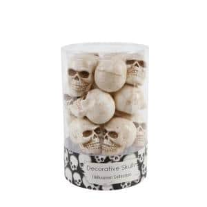 3 in. Halloween Mini Natural Plastic Skulls Fillers in PVC Gift Box (12-Pices Per Box)