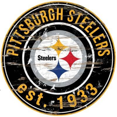 """24"""" NFL Pittsburgh Steelers Round Distressed Sign"""