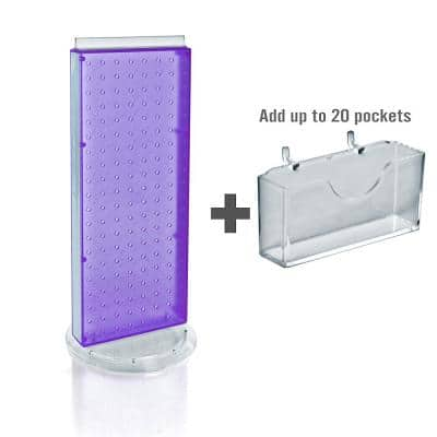 21 in. H x 8 in. W Counter Pegboard Gift Card Holder in Purple (20-Pockets)