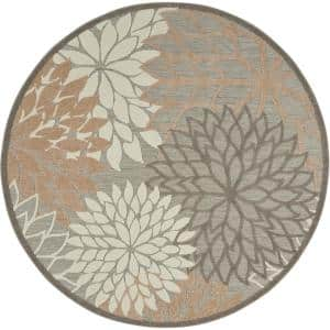 Aloha Patio Natural 8 ft. x 8 ft. Floral Modern Indoor/Outdoor Round Area Rug