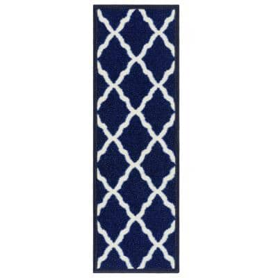 Glamour Collection Moroccan Trellis Design Blue 9 in. x 26 in. Polypropylene Stair Tread Cover (Set of 14)