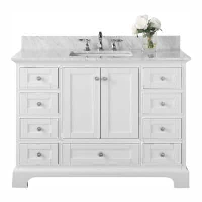 Audrey 48 in. W x 22 in. D Vanity in White with Marble Vanity Top in White with White Basin