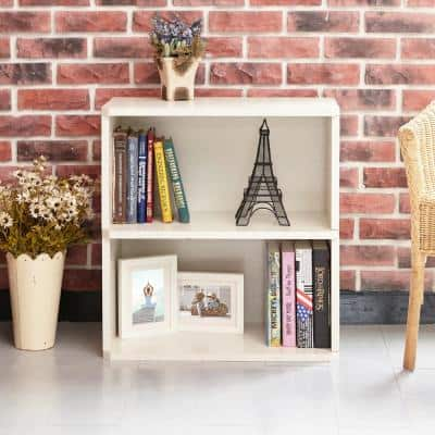 24.7 in. White Wood 2-shelf Standard Bookcase with Cubes
