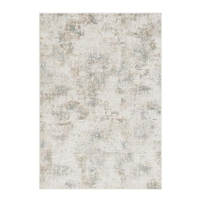 Bernadette Ivory 7 ft. x 11 ft. Abstract Polypropylene and Viscose Area Rug