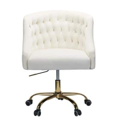 Lydia 24.5 in. Width Big and Tall Ivory Fabric Task Chair with Adjustable Height