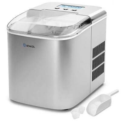 10 in. W 26 lbs. Portable Ice Maker with LCD Display and Ice Scoop in Silver