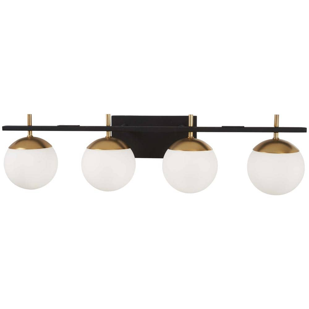 George Kovacs Alluria 4 Light Weathered Black With Autumn Gold Accents Bath Light P1354 618 The Home Depot