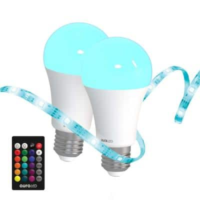 45-Watt Equivalent A19 Dimmable with Remote and Light Strip LED Light Bulb Multi-Color, 2700K (2-Pack)