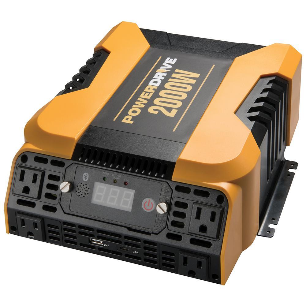 2000-Watt Power Inverter with 4 AC, Dual port - Standard USB 2.4 Amp and USB-C 3.0 Amp port, APP with Bluetooth