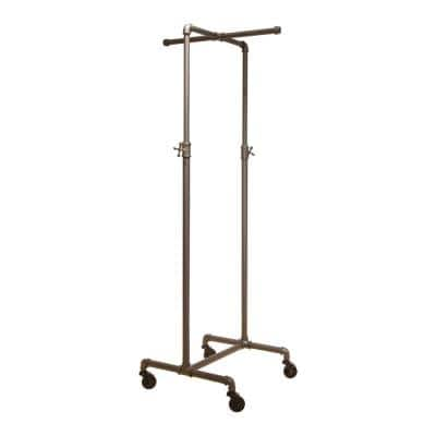 Gray Metal Adjustable Clothes Rack with 2-Way Crossbar (26 in. W x 72 in. H)