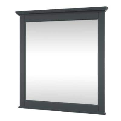 Callen 32 in. W x 32 in. H Rectangular Framed Bathroom Vanity Mirror in Charcoal Grey