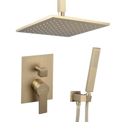 Single-Handle 1-Spray Square High Pressure 10 in. Shower Faucet in Brushed Gold (Valve Included)
