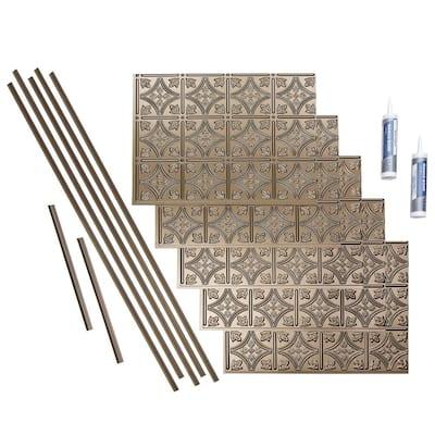 Traditional 1 18 in. x 24 in. Argent Bronze Vinyl Decorative Wall Tile Backsplash 15 sq. ft. Kit