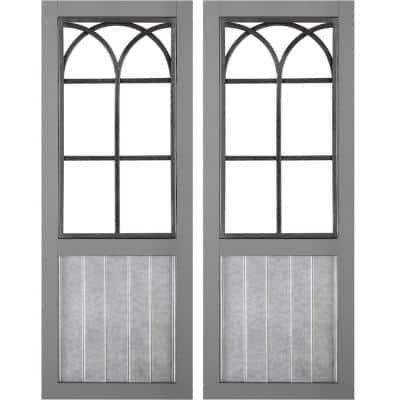 12 in. x 1 in. x 31.5 in. Metal Gray Willow Farmhouse Window Wall Plaque 2-Piece Set