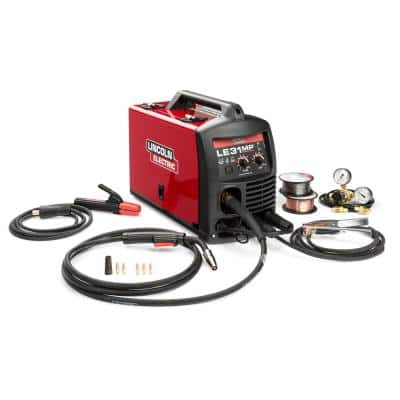 140 Amp LE31MP Multi-Process Stick/MIG/TIG Welder with Magnum Pro 100L Gun, MIG and Flux-Cored Wire, Single Phase, 120V