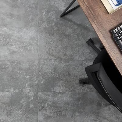 Revive 12mil Metalcrete 12.4 in. W x 24.4 in. L Pewter Waterproof Glue Down Vinyl Tile Flooring (42.04 Sq. Ft. / Case)