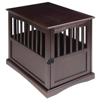 Small Espresso Pet Crate End Table with Gate
