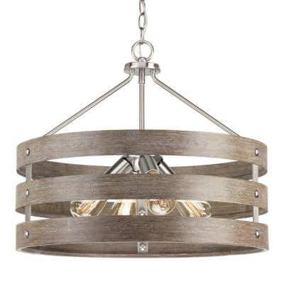Gulliver 22 in. 4-Light Brushed Nickel Drum Pendant with Weathered Gray Wood Accents