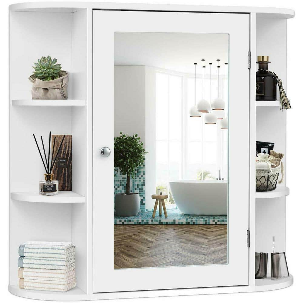 Costway 6 5 In X 25 In X 26 In White Multipurpose Wall Surface Mount Bathroom Storage Medicine Cabinet With Mirror Hm0010 The Home Depot