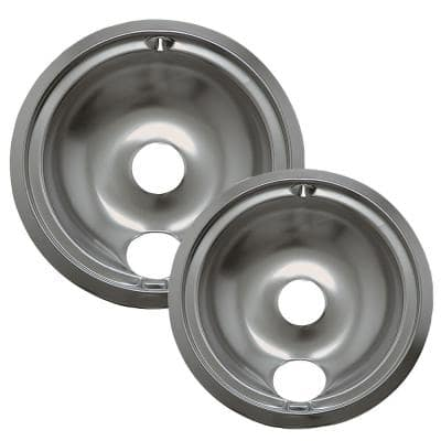 6 in. Small and 8 in. Large B Style Drip Bowl in Chrome (2-Pack)