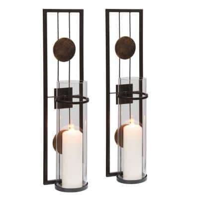 20 in. Metal Medallion Pillar Candle Sconce (Set of 2)