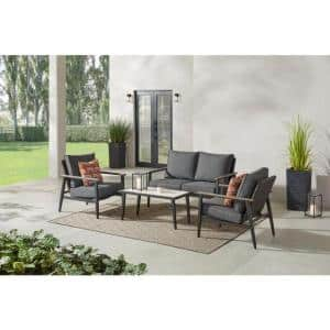 Rivenhall 4-Piece Metal Outdoor Patio Conversation Set with Dark Grey Cushions