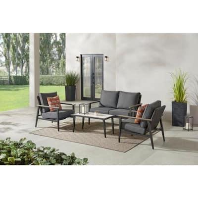 Rivenhall 4-Piece Metal Outdoor Patio Conversation Set with Dark Grey Cushions