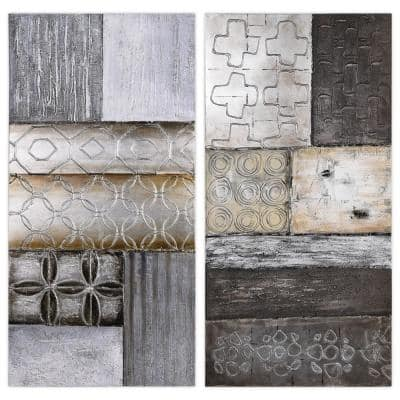 """Stacked"" Textured Metallic Hand Painted Abstract Wall Art 60 in. x 20 in."