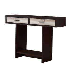 Jasmine 48 in. Cappuccino/Taupe Standard Rectangle Wood Console Table with Drawers