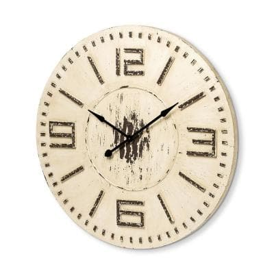 Devonshire 42 in. Round White Oversize Rustic Farmhouse Wall Clock