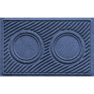 Dog Bowl Wave 18 in. x 27 in. Navy PET Polyester Pet Mat
