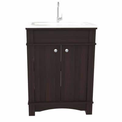 25.6 in. W x 19.3 in. D Bathroom Vanity in Espresso with Vanity Top in White and White Basin