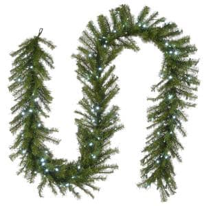 9 ft. Norwood Fir Garland Memory-Shape and 150 Cool White LED Lights
