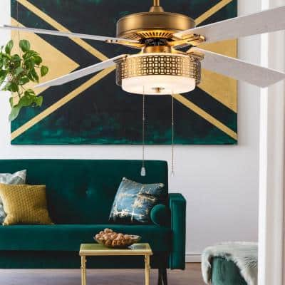 Isabella 52 in. LED Indoor Brass and White Ceiling Fan with Light