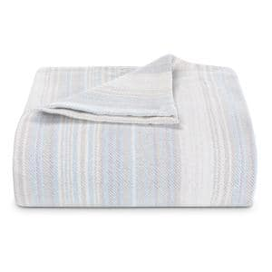 Sandy Shore Full/Queen Stripe Blue Cotton Blanket