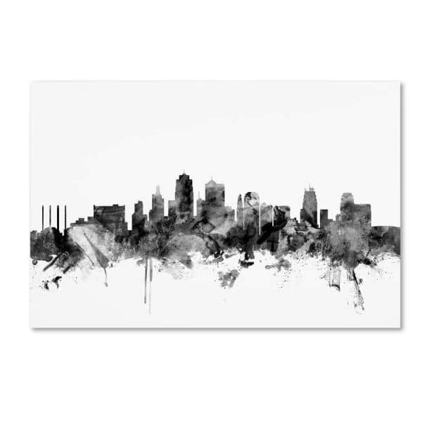 Trademark Fine Art 16 In X 24 In Kansas City Skyline Black And White By Michael Tompsett Floater Frame Architecture Wall Art Mt1047 C1624gg The Home Depot
