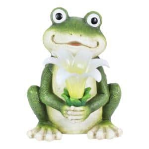 8 in. Tall Solar Frog with LED Flower Garden Statue