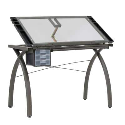 Futura Metal and Glass Hobby Desk Pewter / Clear Glass